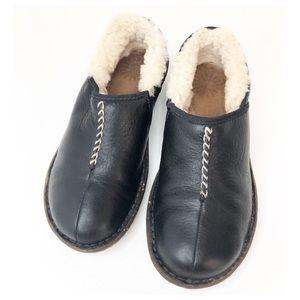 UGG Leather Black Sheepskin Lined Slip On Clogs 7
